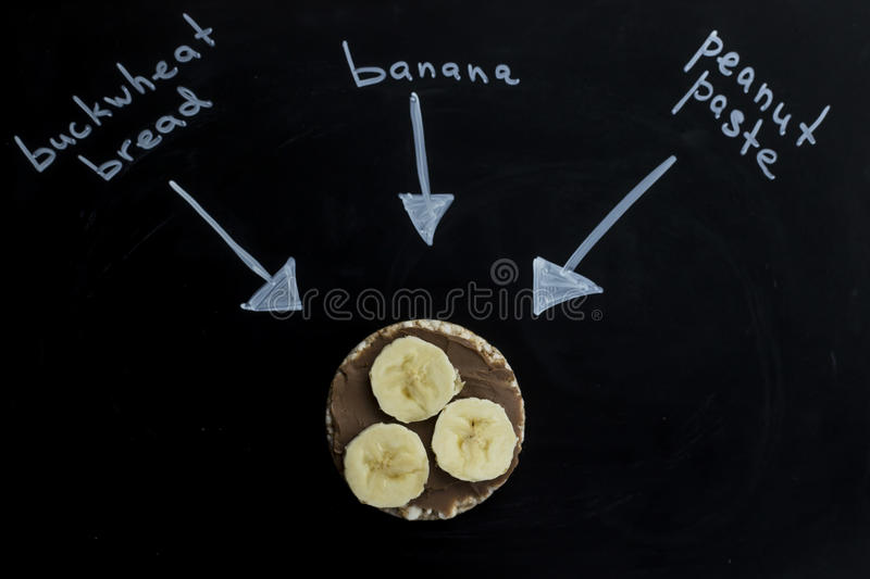sweet sandwiches with peanut butter and banana on circular loaves buckwheat. top view stock image