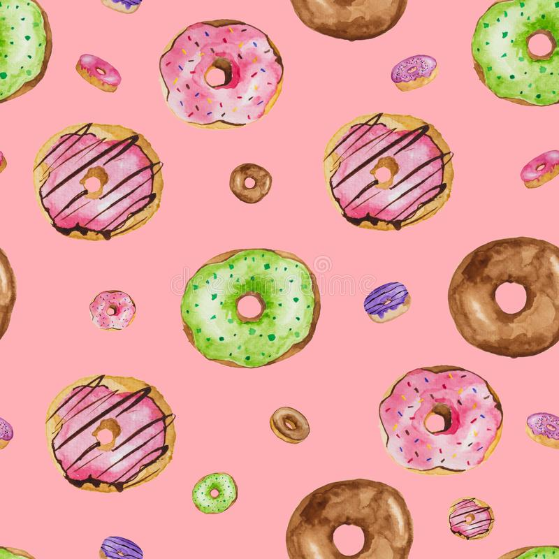 Sweet seamless background. Colorful donut watercolor paints on rose pike isolate background royalty free stock photos