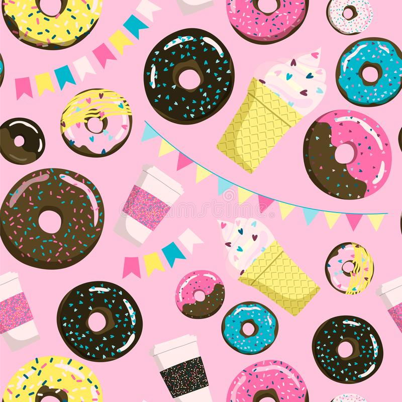 Sweet seamless donuts, coffe and ice cream pattern. Summer party background with flags garland. Can be used for wrapping royalty free illustration