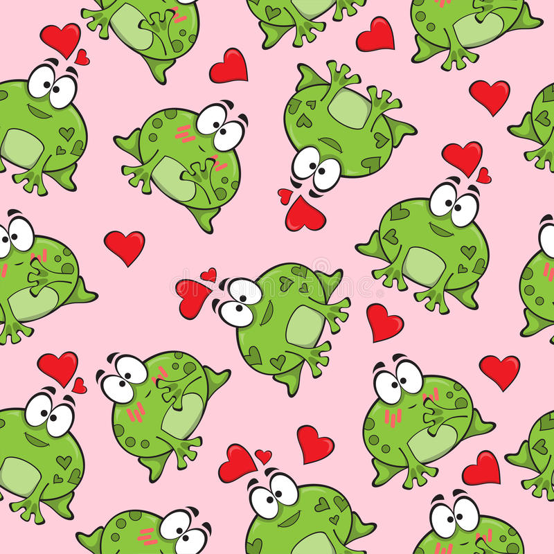 Sweet seamless pattern with frogs royalty free illustration