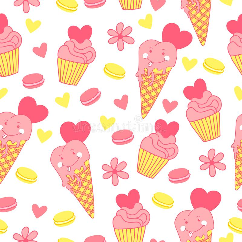 Sweet seamless pattern with ice cream, cupcake macaroons, hearts and flowers. vector illustration