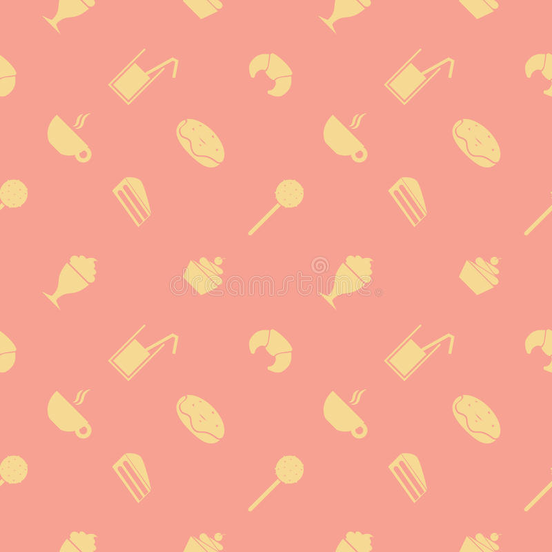 Sweet seamless pattern. Party food and deserts: ice cream, juice, croissant, lollipop, cupcake, popsicle, chocolate vector illustration