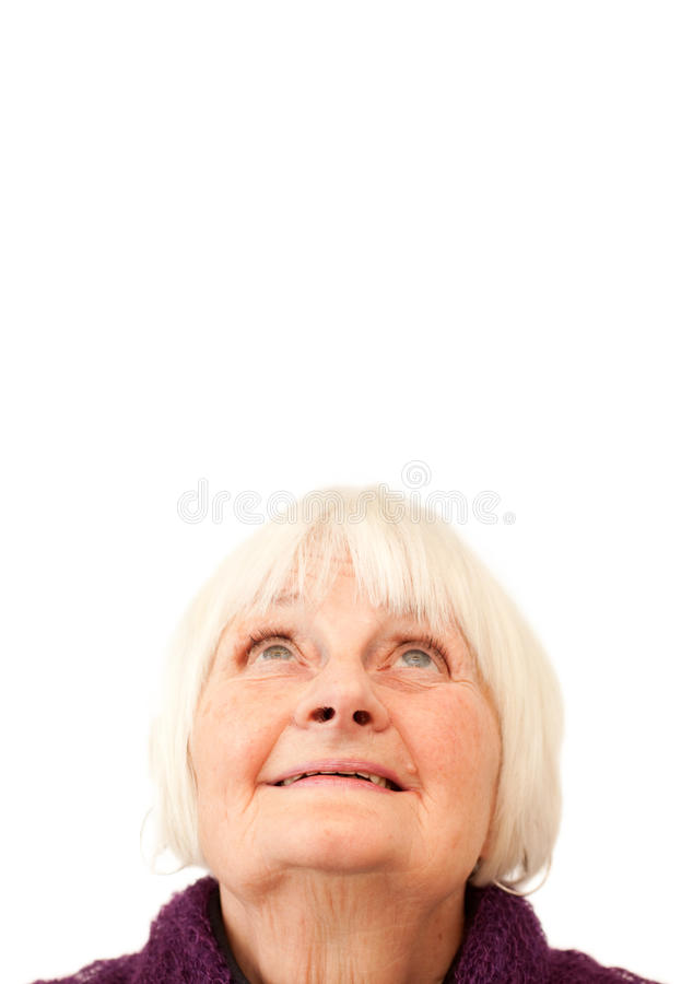 Download Sweet Senior Woman Looking Up At Copyspace Stock Photo - Image: 12693168