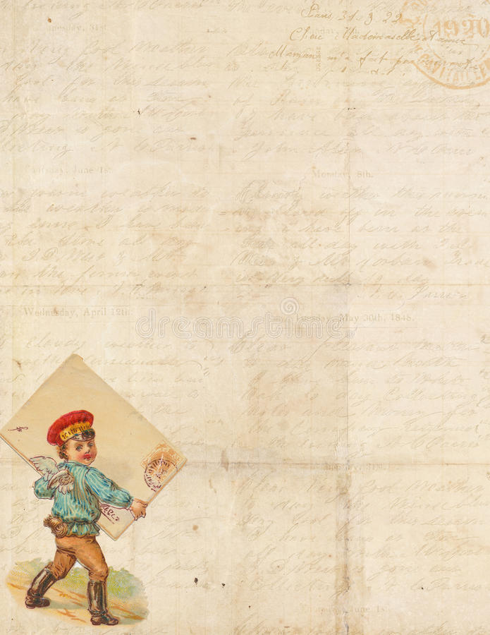 Sweet Shabby Chic frame with cupid delivering mail. Sweet Shabby Chic stationary or invite background with victorian scrap image of cupid as postman delivering stock illustration