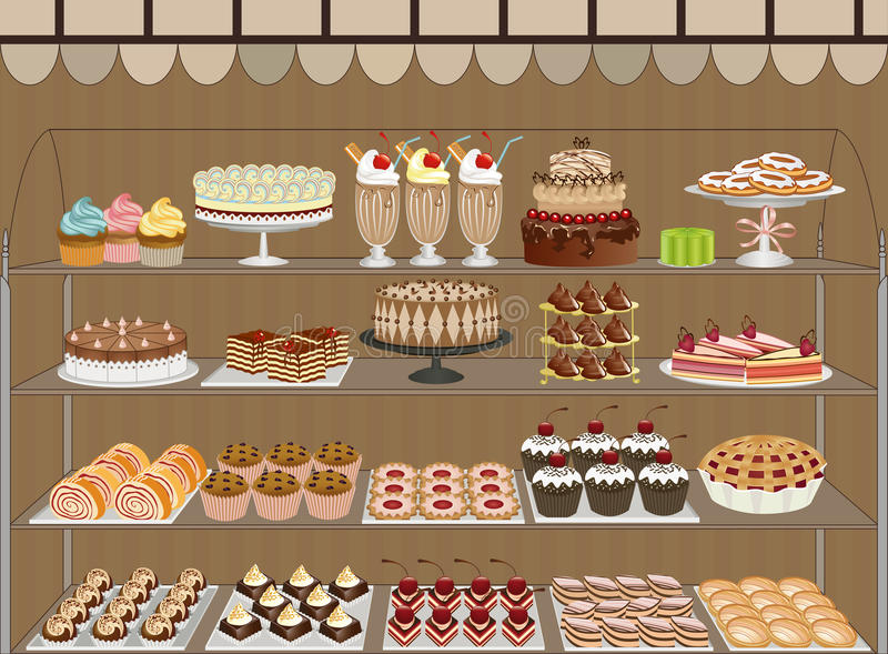 Sweet shop. Window of a pastry shop with chocolates, cakes, muffins and cookies - vector illustration