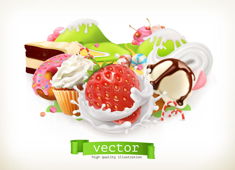 Sweet shop. Confectionery and desserts, Strawberry and milk, ice cream, whipped cream, cake, cupcake, candy. Vector illustration vector illustration