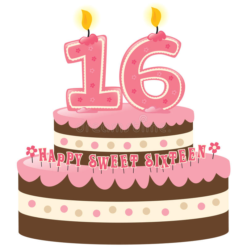 Download Sweet Sixteen Birthday Cake Stock Vector - Illustration: 9945708