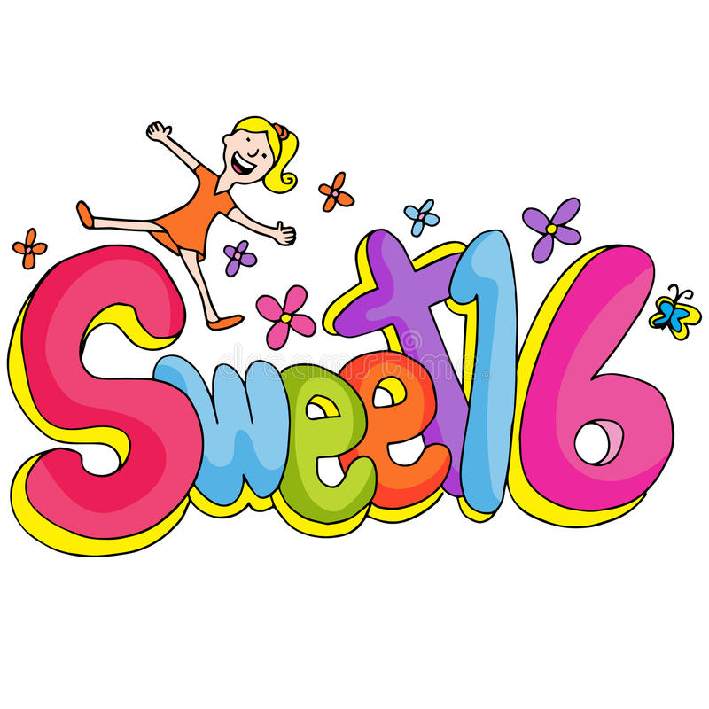 Sweet Sixteen Girl. An image of a sweet sixteen girl with text stock illustration