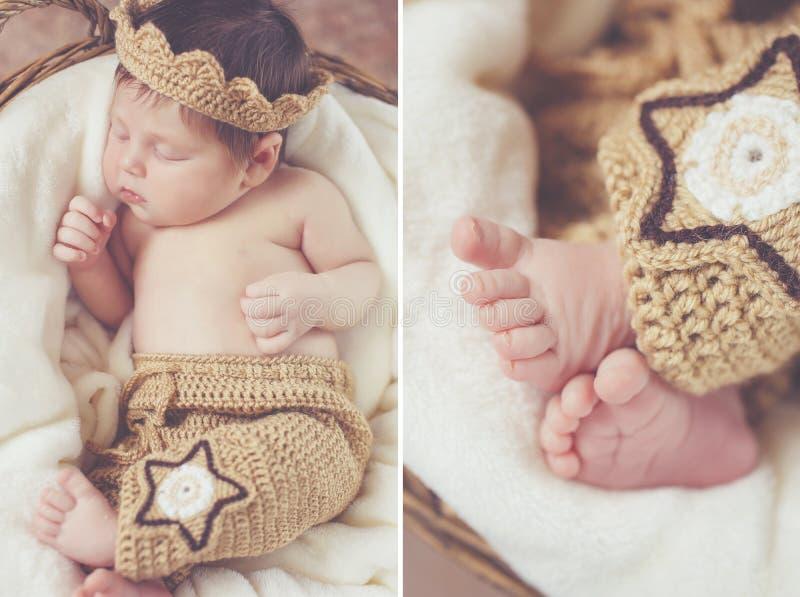 Sweet sleeping newborn baby in wicker basket-collage stock photography