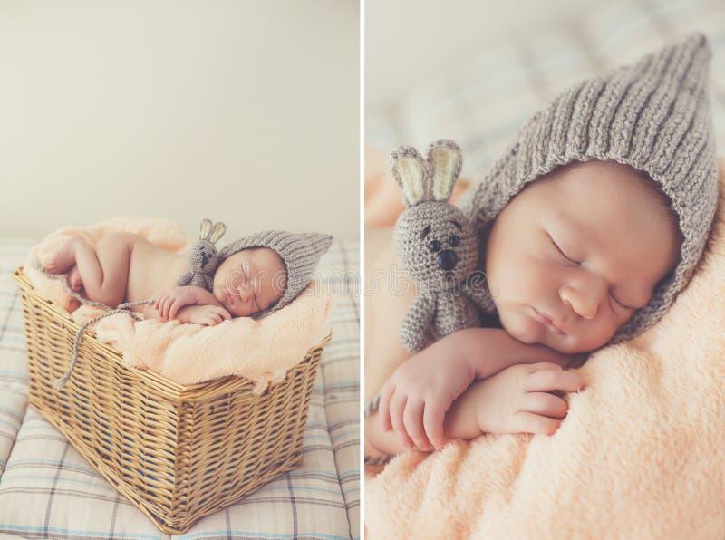 Sweet sleeping newborn baby in wicker basket-collage royalty free stock photography