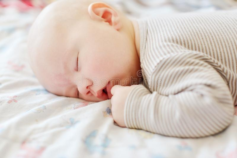 Sweet sleeping newborn stock image