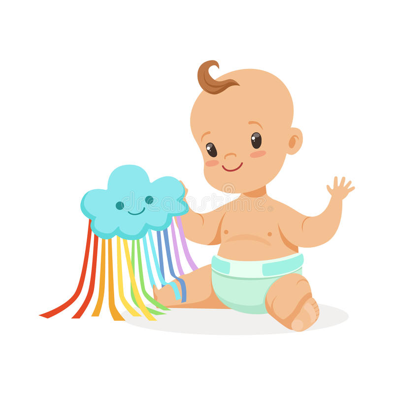 Sweet smiling baby in a diaper playing with toy cloud, colorful cartoon character vector Illustration. Isolated on a white background royalty free illustration