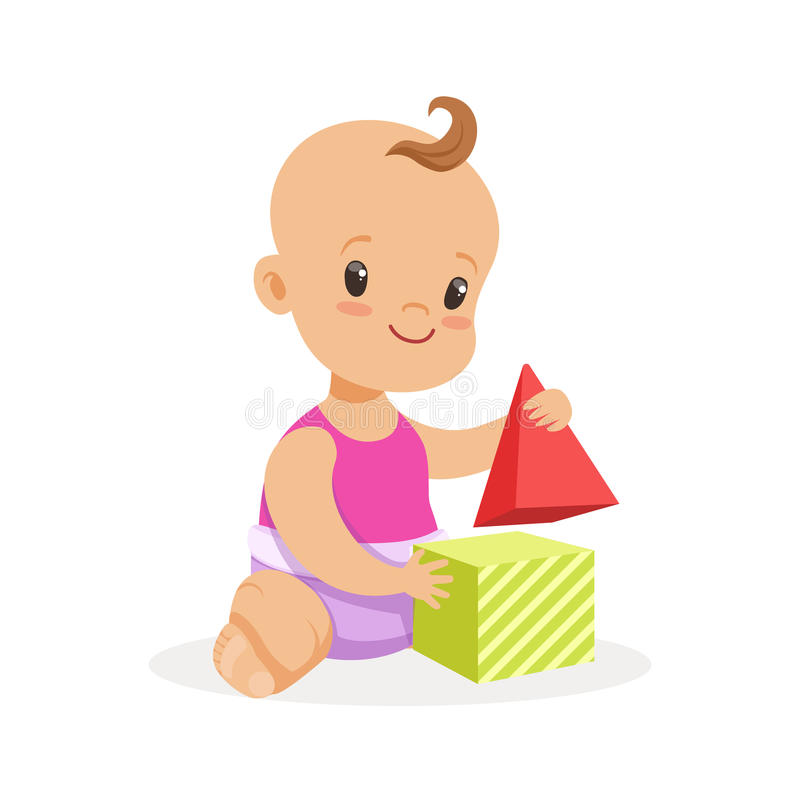 Sweet smiling baby sitting and playing with toy cubes, colorful cartoon character vector Illustration. Isolated on a white background vector illustration