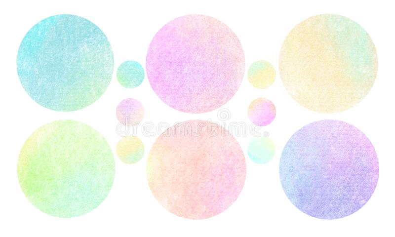 Sweet soft multicolor grunge Collection, Circles. Banners, Insignias , Logos, Icons, Labels and Badges Set vector illustration
