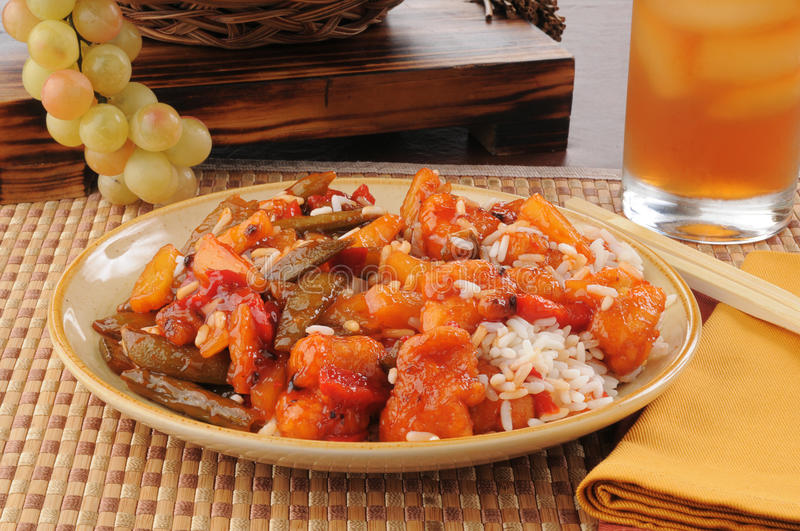 Download Sweet and sour chicken stock image. Image of carrots - 25838043