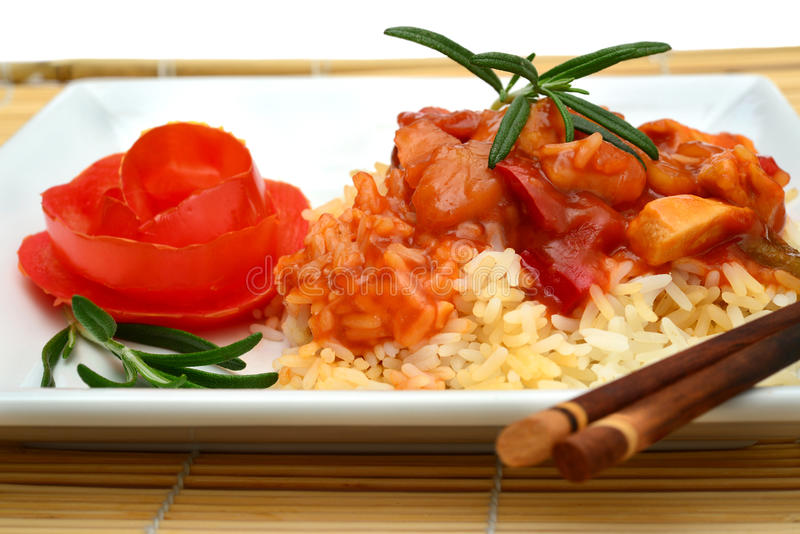 Download Sweet and Sour Chicken stock image. Image of dinner, green - 26712697