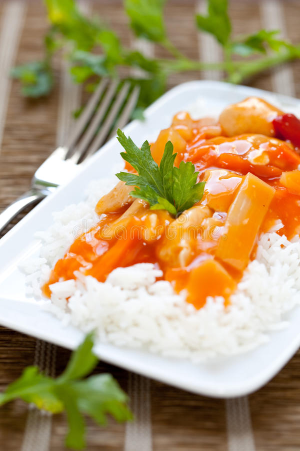 Free Sweet Sour Chicken With Rice Stock Photo - 21636040