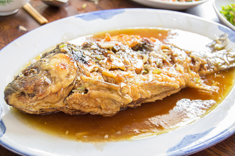 Sweet and sour fish. Is a famous Chinese dish royalty free stock photography