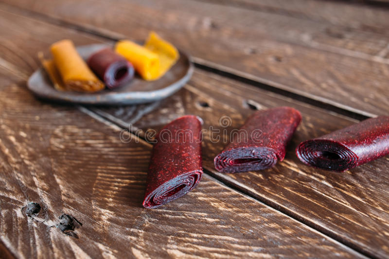 Sweet and sour fruit leather royalty free stock image