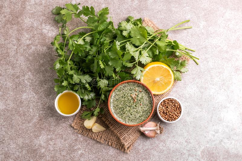 Sweet and sour green homemade sauce with cilantro, lemon and gar royalty free stock photography