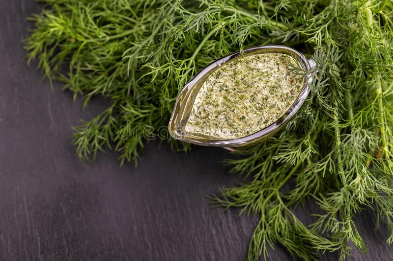 Sweet and sour green homemade sause with dill royalty free stock photos