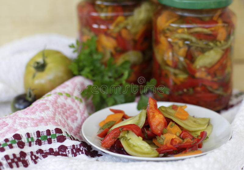 Sweet and sour homemade pickles stock photo