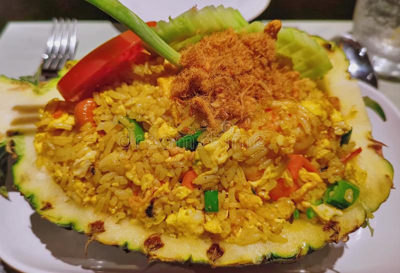 Sweet and Sour Pineapple Fried Rice in Pineapple Shell. Close-up Sweet and Sour Pineapple Fried Rice in Pineapple Shell royalty free stock photos