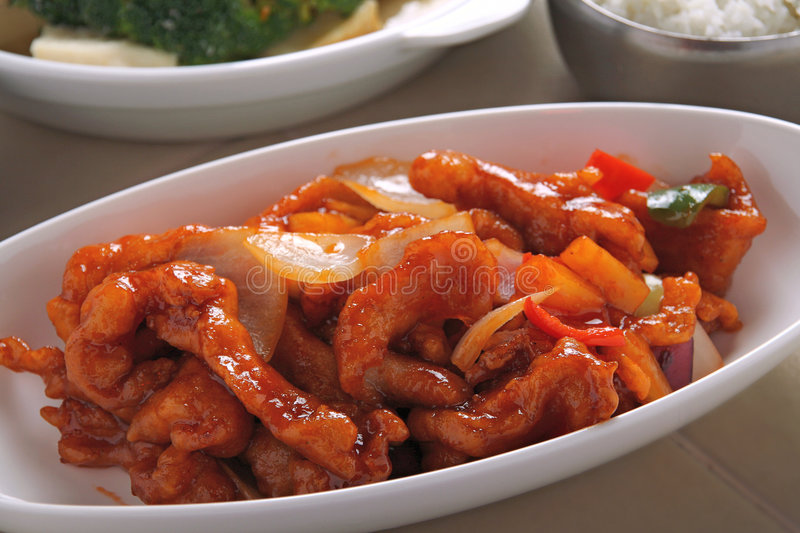 Sweet and sour pork. Dish stock photography