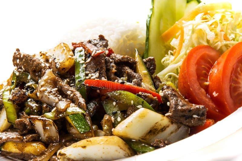 Sweet Soy Beef Fillet With Shirakaki Noodles on Ri royalty free stock photos