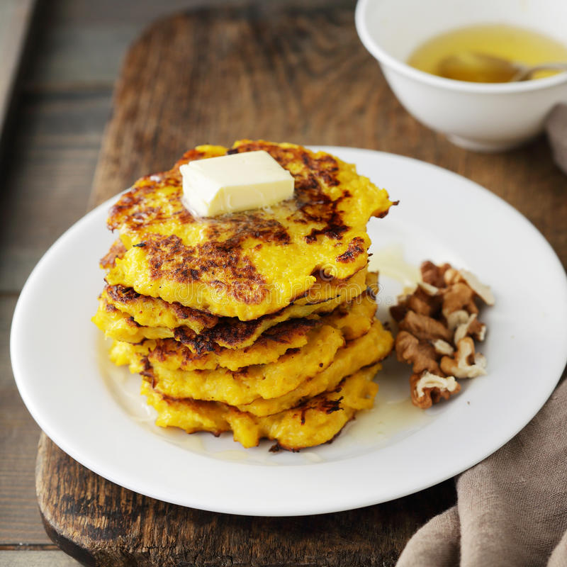 Sweet squash pancakes stock image