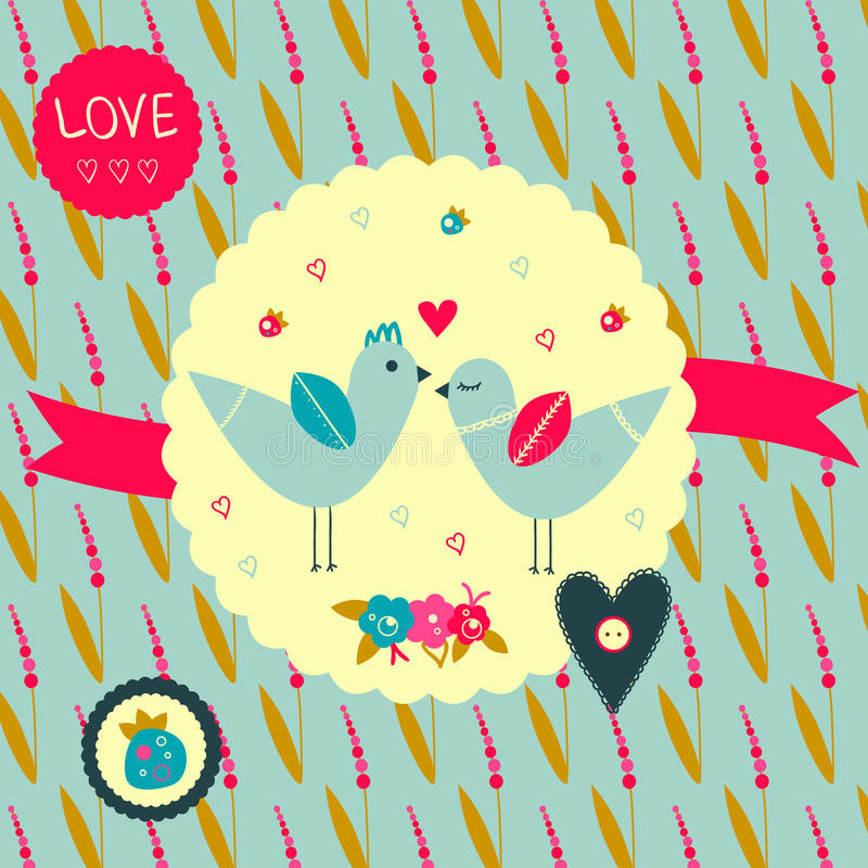 Birds in love. Cute graphic scrapbook element in retro style with birds, flower, strawberries and hearts. Eps file is available stock illustration