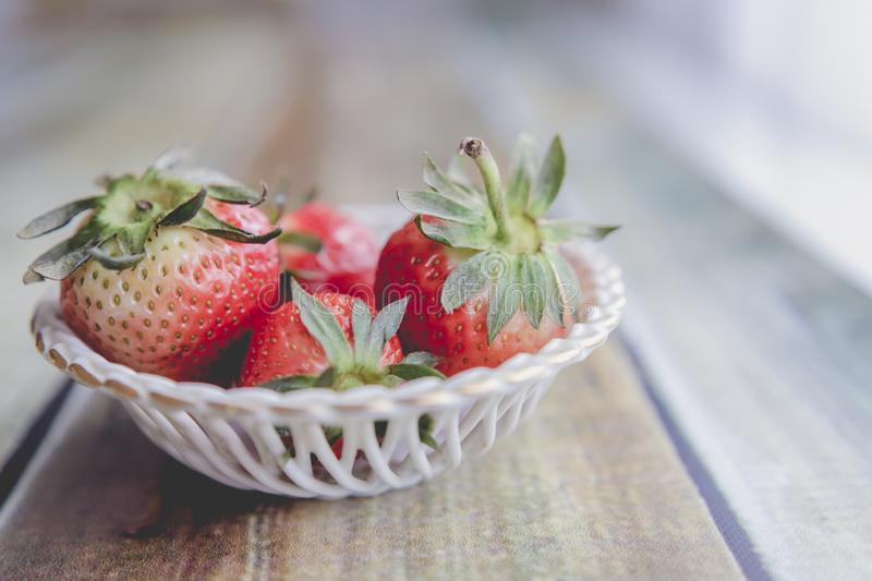 Sweet strawberries from my garden. Red and mature royalty free stock photography