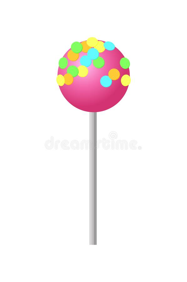 Sweet Strawberry Lollipop with Colorful Sprinkles. Sweet strawberry round lollipop with colorful sprinkles on top. Delicious confectionery product on stick stock illustration