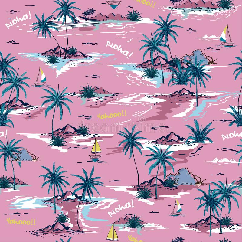 Sweet summer bright Beautiful seamless island pattern on white stock illustration