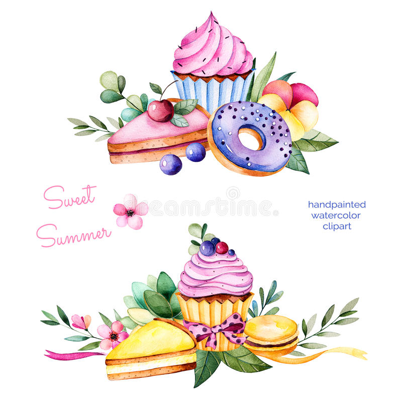 Sweet summer collection with donuts,leaves,succulent plant,branches,pansy flower,macaroons,lemon and cherry cheesecakes,cupcakes. vector illustration