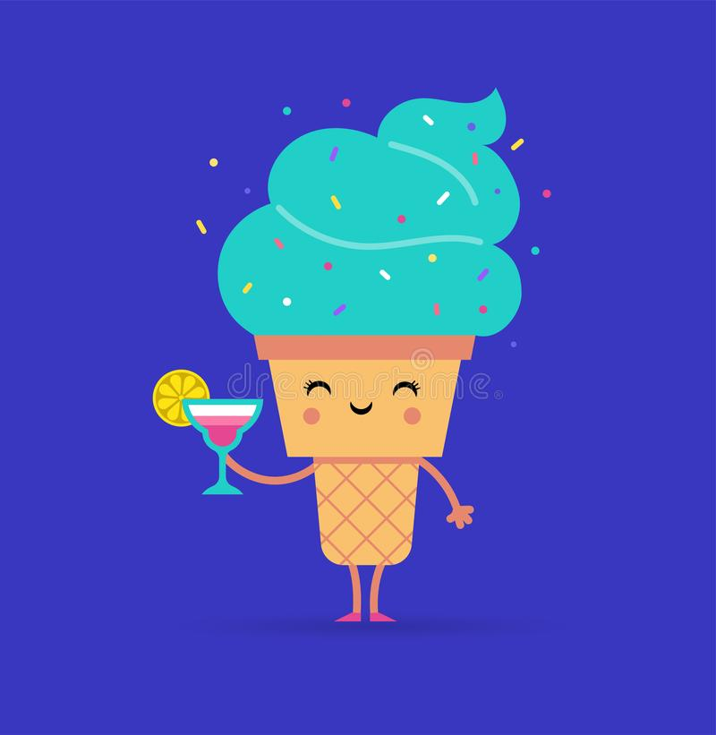 Sweet summer - cute ice cream character makes fun. Pool, sea and beach summer activities concept vector illustrations stock illustration