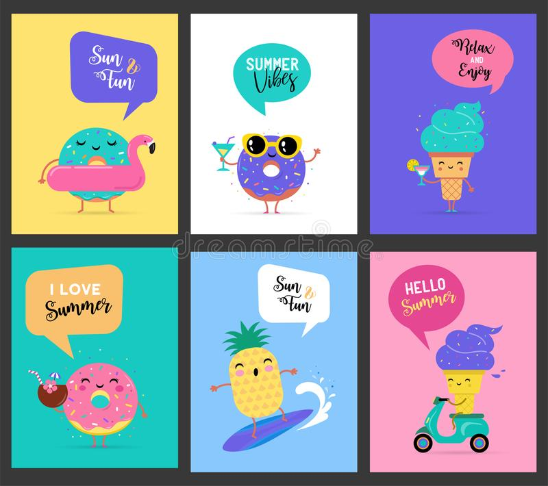 Sweet summer - cute ice cream, watermelon and donuts characters make fun. Pool, sea and beach summer activities concept vector illustrations royalty free illustration