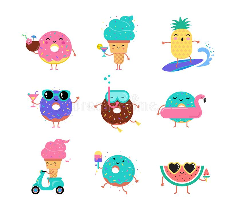 Sweet summer - cute ice cream, watermelon and donuts characters make fun. Pool, sea and beach summer activities concept vector illustrations stock illustration