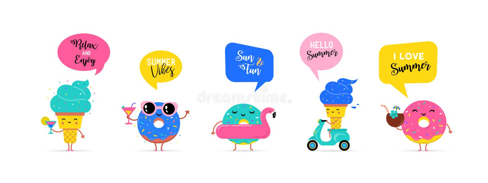 Sweet summer - cute ice cream, watermelon and donuts characters make fun. Pool, sea and beach summer activities concept vector illustrations vector illustration