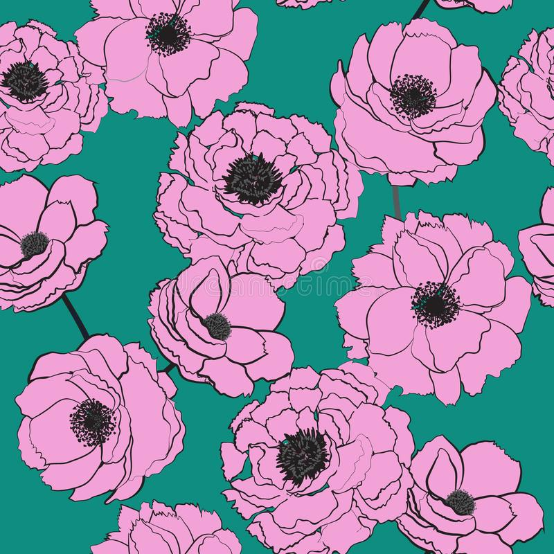 Sweet summer Hand drawn stylish pink blooming flowers on green royalty free illustration