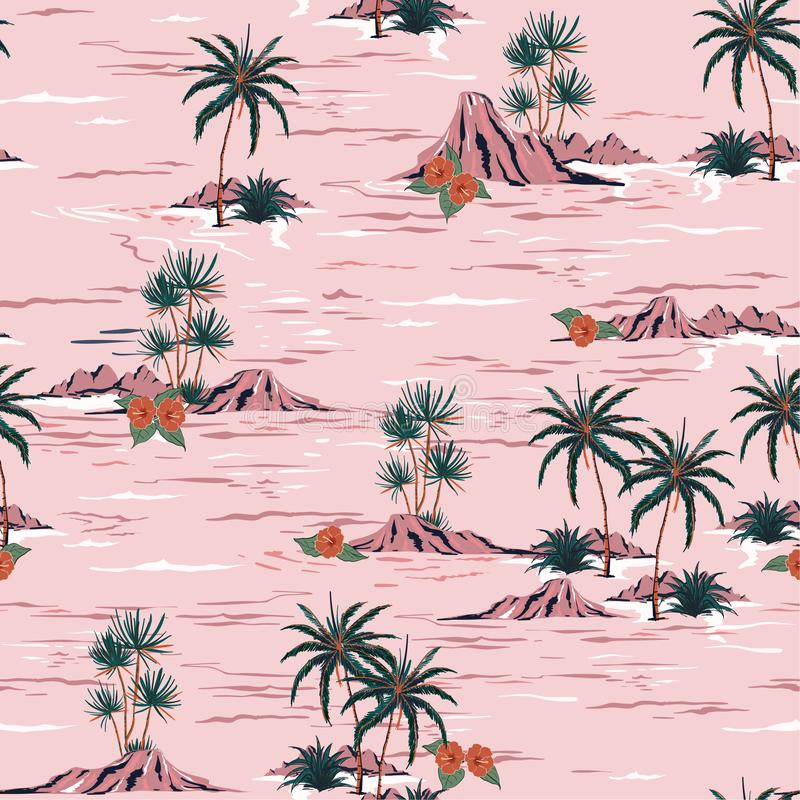Sweet summer mood seamless island pattern Landscape with palm t. Rees,beach and ocean vector hand drawn style on pink background stock illustration