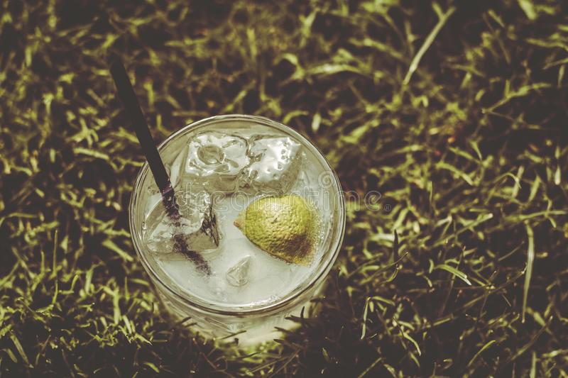 Sweet Summer Party Cocktail In Soft Grass Field stock image