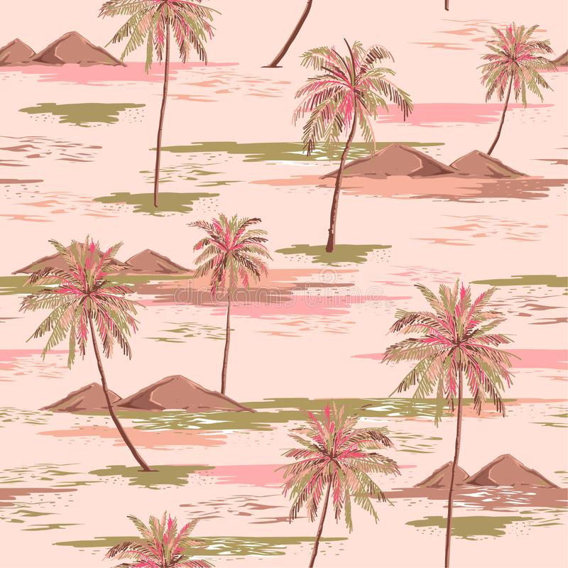 Sweet summer seamless island pattern Landscape with colorful palm trees,beach and ocean vector hand drawn style. On light pink color background.Design for vector illustration