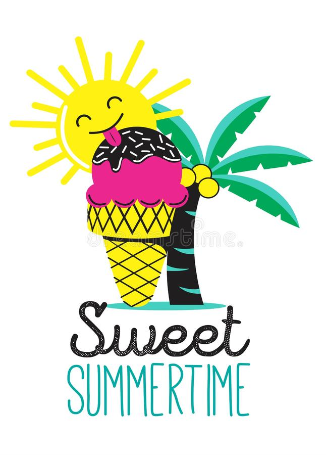 Sweet summer time with ice-cream. The sun, palm, pink ice cream, summer, happy, cartoon, print, t shirt print, t shirt design, baby clothing, t shirt vector vector illustration
