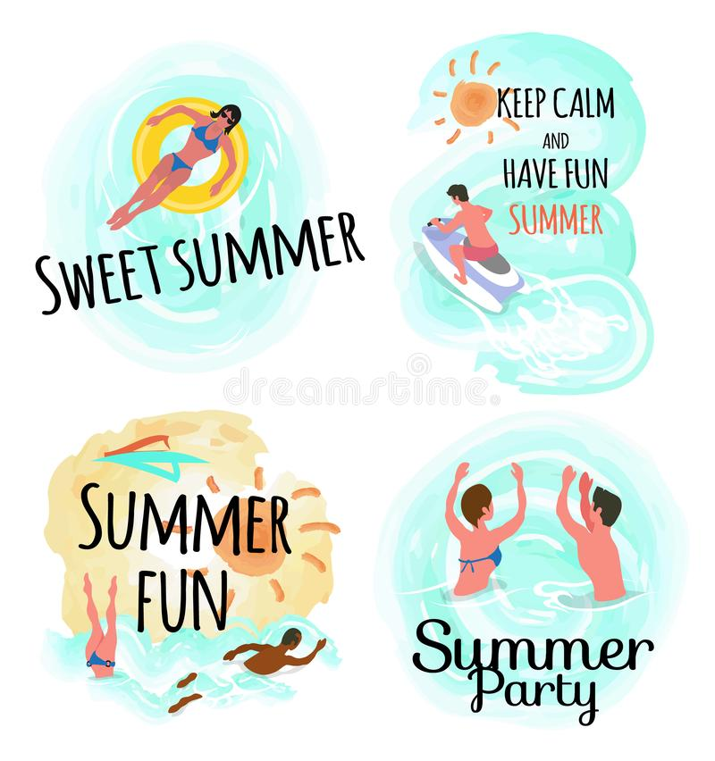 Sweet Summer Keep Calm and Have Fun Party Set. Sweet summer vector, keep calm and have fun people relaxing by seaside. Woman laying on inflatable lifebuoy royalty free illustration
