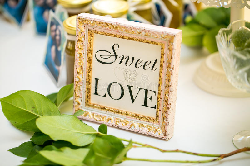 Sweet table. Frame with the message royalty free stock images