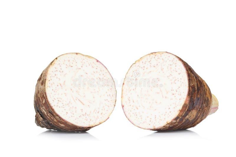 Sweet taro root slice isolated on white background royalty free stock image