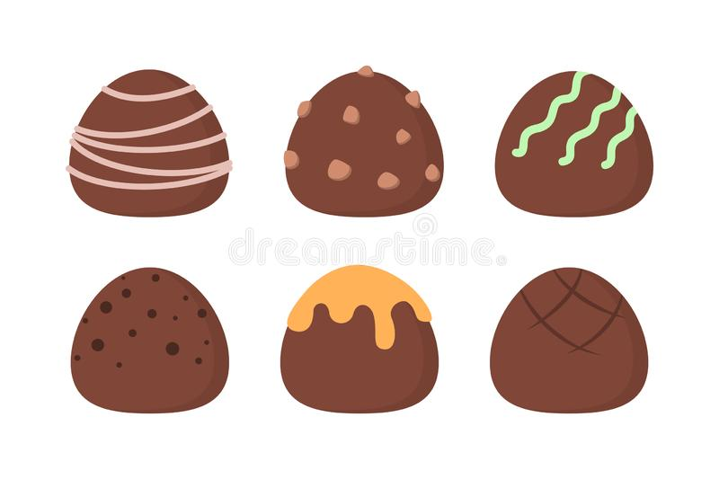 Sweet tasty chocolate truffle set. Collection of delicious dessert vector illustration