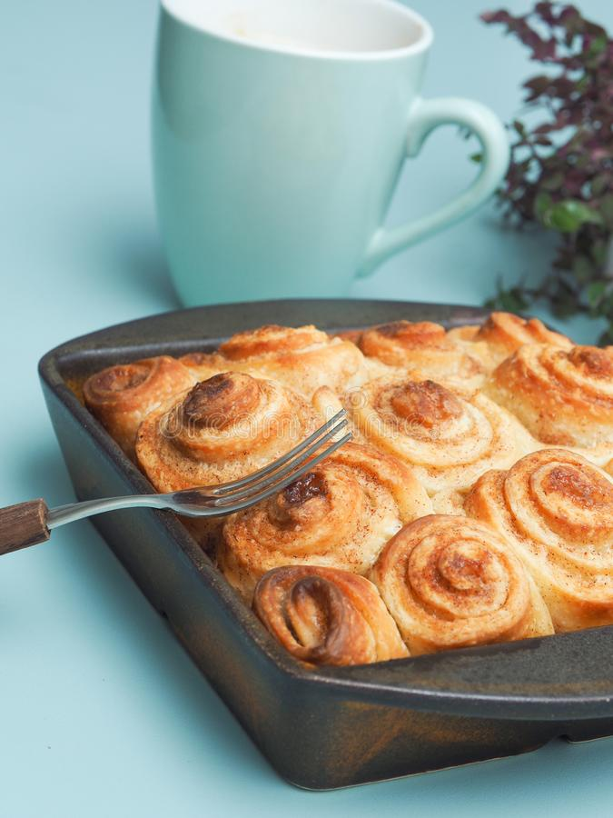 Tasty cinnamon pastry. Sweet and tasty cinnamon pastry in a ceramic baking dish stock image