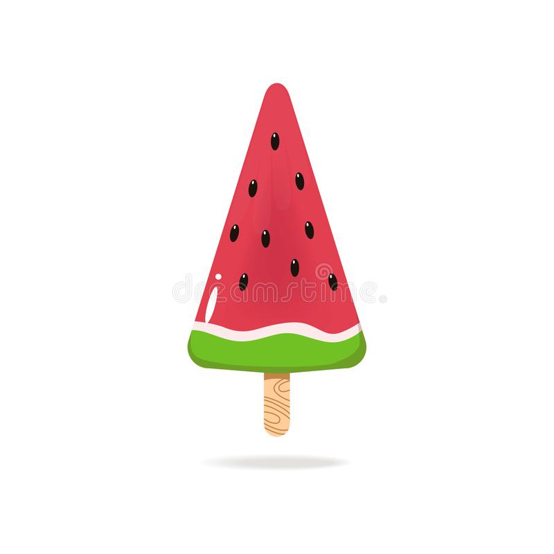Sweet tasty ice cream in watermellon form, colorful royalty free illustration
